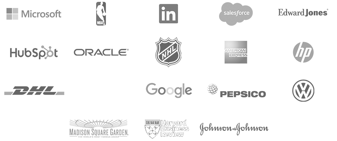 Microsoft, NBA, National Basketball Association, linkedIn, salesforce, Edward Jones, HubSpot, Oracle, NHL, National Hockey League, American Express, HP, Hewlett-Packard, DHL, Citrix, Google, Pepsico, VW, Volkwagon, Madison Square Garden, HBR, Harvard Business Review, Johnson & Johnson